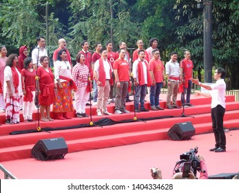 Jakarta, Indonesia - May 20, 2019: Addie MS and Twilite Chorus at the Indonesian Awakening Festival at Southeast Plaza GBK, Senayan.
