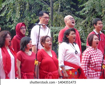 Jakarta, Indonesia - May 20, 2019: Twilite Chorus at the Indonesian Awakening Festival in Southeast Plaza GBK, Senayan.