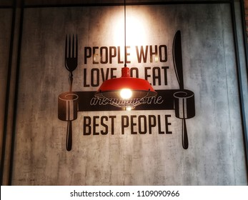 Jakarta, Indonesia - May 2018 : A sign in a restaurant to attract customer