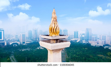 JAKARTA - Indonesia. May 21, 2018: Beautiful gold torch of the National Monument under clear sky