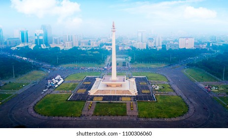JAKARTA - Indonesia. May 21, 2018: Aerial view of crowd people visiting the National Monument in Jakarta, Indonesia
