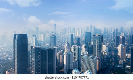 JAKARTA - Indonesia. May 21, 2018: Bird view of modern high buildings in Jakarta downtown at morning time