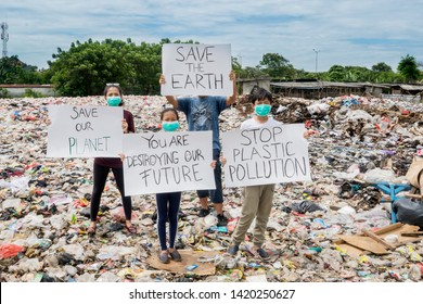 JAKARTA - Indonesia. May 27, 2019: Group of people holds a banner to protesting plastic trash and uses of plastic in the landfill