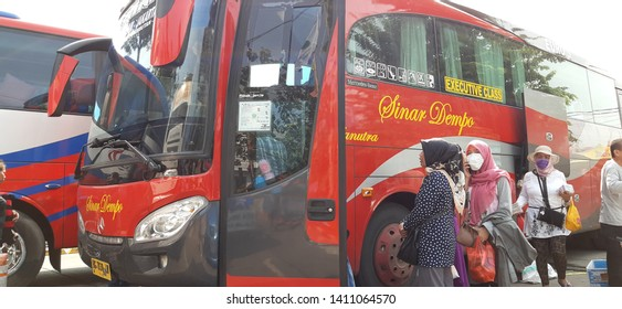 Jakarta, Indonesia - May 30, 2019: Current conditions from the Kalideres terminal, West Jakarta. Jakarta's People  packed in the bus terminal, back to hometown for celebrate the Eid Al-fitr
