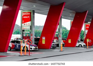 Jakarta, Indonesia - May 30, 2019: The atmosphere of the gas station in the rest area, located on the Cipularang KM 19 toll road, Jakarta.