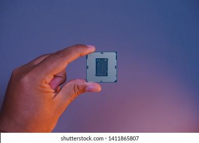 Jakarta, Indonesia - May 31, 2019: Intel Core i9-9900K processor is new 9th Gen Intel Core desktop processors the first unlocked mainstream desktop processor.