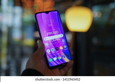 Jakarta, Indonesia - May 31, 2019: The Realme 3 Pro Android smartphone in has a 6.3-inch full-HD+ IPS display and is powered by Qualcomm Snapdragon 710 SoC.