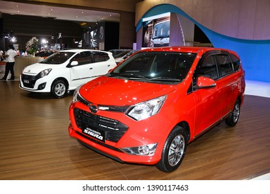 Jakarta, Indonesia, May 3rd 2019 : New Daihatsu cars on display at Indonesia International Motor Show 2019.