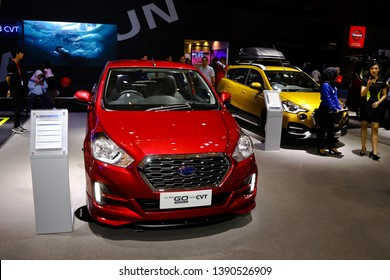 Jakarta, Indonesia, May 3rd 2019 : Datsun Go display at Indonesia International Motor Show