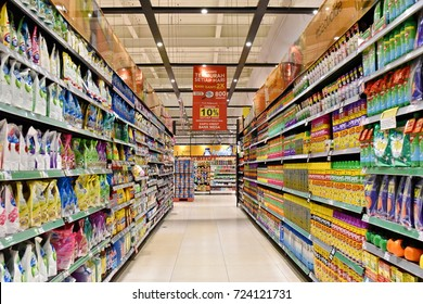 Jakarta, Indonesia - May 5, 2017: Aisle view in a Carrefour supermarket. France's Carrefour is one of the largest supermarket chains in the world along with America's Walmart and Britains Tesco.