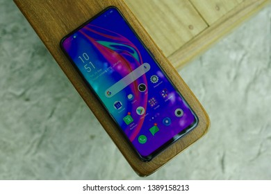 Jakarta, Indonesia - May 5, 2019: The OPPO F11 Pro midrange smartphone has a 6.53-inch 1080p notch-less display and a pop-up selfie camera.