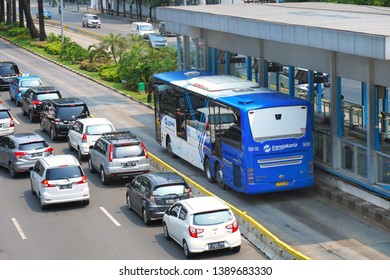 Jakarta, Indonesia May 5, 2019; Bus Rapid Transit (BRT) Jakarta called as Transjakarta is Jakarta public transportation, the first BRT in south east asia start operations in January 2004.