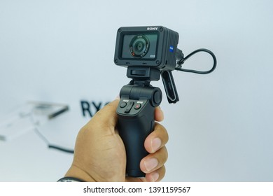 Jakarta, Indonesia - May 7, 2019: The Sony RX0 II ultra-compact camera with a shooting grip VCT-SGR1 for vlog.