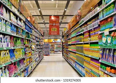 Jakarta, Indonesia - May 8, 2017: Aisle view in a Carrefour supermarket. France's Carrefour is one of the largest supermarket chains in the world along with America's Walmart and Britains Tesco.
