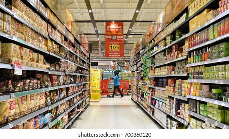 Jakarta, Indonesia - May 8, 2017: Aisle view in a Carrefour supermarket. France's Carrefour is one of the largest supermarket chains in the world along with America's Walmart and Britain's Tesco.