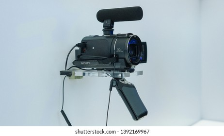 Jakarta, Indonesia - May 8, 2019: The Sony AX40 4K Handycam with Exmor R® CMOS sensor.