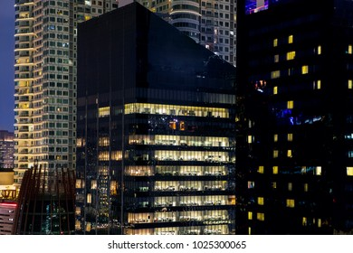 JAKARTA, Indonesia. November 06, 2017: The skyscrapers of Jakarta central district business at night