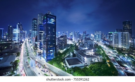 JAKARTA, Indonesia. November 06, 2017: Aerial view of Kuningan central business district with skyscrapers and highway in Jakarta at night