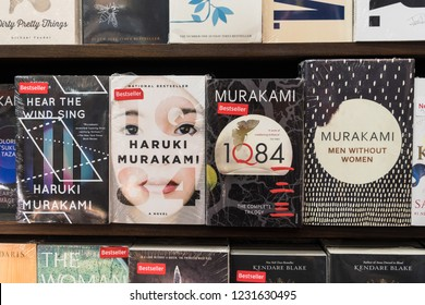 Jakarta, Indonesia - November 13 2018: Various, including from Haruki Murakami, are displayed in a modern bookstore.