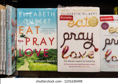 Jakarta, Indonesia - November 13 2018: the famous Eat Pray and Love novel displayed in a modern bookstore.