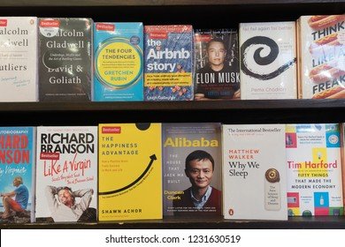 Jakarta, Indonesia - November 13 2018: Various book about business leaders surch as Jack Ma or Elon Musk are displayed in a modern bookstore.