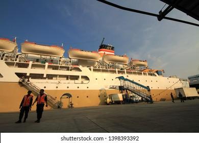 Jakarta, Indonesia - November 15, 2015 : Activities of Passenger Terminal Nusantara Pura 2 in the port of Tanjung Priok, North Jakarta