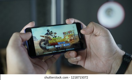 Jakarta, Indonesia - November 2, 2018: The Meizu M6 Android smartphone playing PUBG Mobile lite.