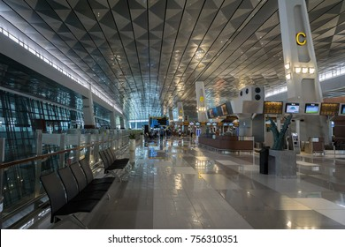 Jakarta, Indonesia: November 2017 :  Jakarta (Soekarno-Hatta) International Airport Terminal 3. Jakarta Aiport is the largest airport in Java and the Terminal 3 is a new terminal opened in 2016.