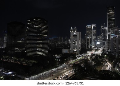 Jakarta, Indonesia: November 2018: The view of Jakarta cityscape at night surrounding by buildings.