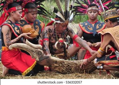 Jakarta, Indonesia - November 24, 2013: The traditional ceremony of Dayak Kanayatn harvest in Taman Indonesia Indah, Jakarta - Indonesia