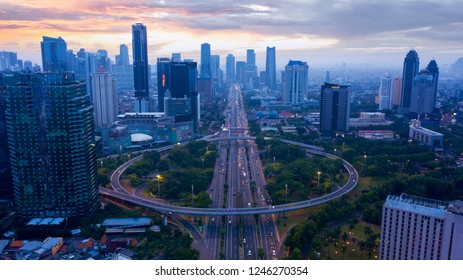 JAKARTA, Indonesia - November 27, 2018: Aerial view of Sudirman highway near the Semanggi road interchange at dawn time