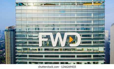 JAKARTA, Indonesia - November 30, 2018: Aerial view of FWD Tower located in South Jakarta, Indonesia