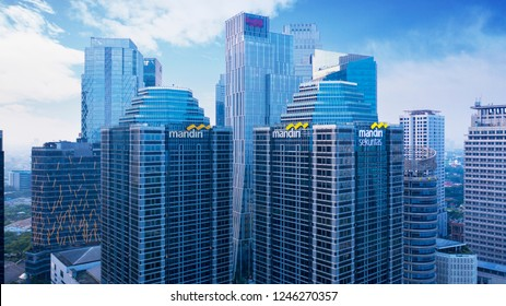JAKARTA, Indonesia - November 30, 2018: Aerial view of central business district with two Mandiri towers in South Jakarta