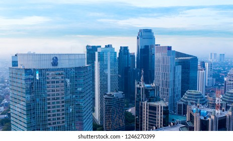 JAKARTA, Indonesia - November 30, 2018: Aerial view of modern high buildings in Jakarta central business district