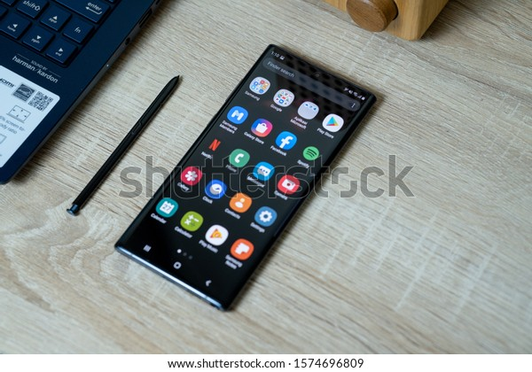 Jakarta, Indonesia - November 30, 2019: The Samsung Galaxy Note 10+ flagship smartphone has a 6.8 inches Dynamic AMOLED panel with new S Pen.