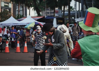 JAKARTA, INDONESIA - OCT 7, 2018: funny clowns are in action at the car free day event