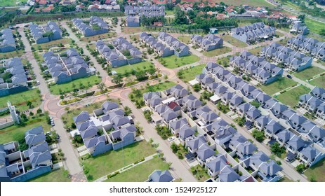 JAKARTA - Indonesia. October 01, 2019: Aerial view of new residential house complex with by green garden