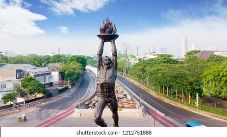 JAKARTA, Indonesia - October 10, 2018: Youth Advancement Monument is as known as Patung Pemuda Membangun at Senayan Roundabout, Jakarta, Indonesia.