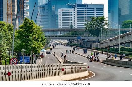 Jakarta, Indonesia - October 13 2019, Car Free Day (CFD) from Semanggi Interchange Jakarta