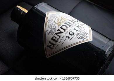 JAKARTA, INDONESIA - OCTOBER 13, 2020: 70 cl bottle of Hendricks distilled gin 41.4% alcohol on a black background