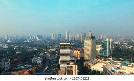 JAKARTA, INDONESIA, OCTOBER 14, 2018: the view of Jakarta city around Sudirman district from the level of 17 at the hotel.