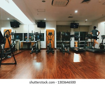 JAKARTA, INDONESIA, OCTOBER 14, 2018: the fitness studio which is the facility's provision in the hotel named Harris FX Sudirman which located at the JI. Jend Sudirman street.