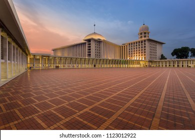 Jakarta / Indonesia - October 16 2017: Istiqlal, the Biggest Mosque in Southeast Asia at Dusk.