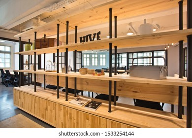 JAKARTA, INDONESIA - OCTOBER 16, 2019:this is photo of interior design with long wood and black pillars with best quality and high resolution for you.