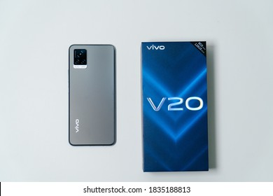 Jakarta, Indonesia - October 17, 2020: The back of Vivo V20 Android smartphone in midnight jazz colour. The cameras are a key selling point of the vivo V20, its main 64MP.