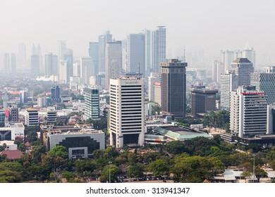 JAKARTA, INDONESIA - OCTOBER 21, 2014: Jakarta aerial view from Monas.