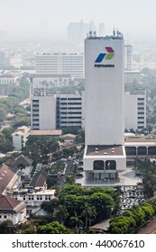 JAKARTA, INDONESIA - OCTOBER 21, 2014: Pertamina head office. Pertamina is an Indonesian state-owned oil and natural gas corporation based in Jakarta.