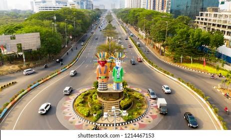 JAKARTA - Indonesia. October 22, 2018: Aerial view of Ondel-Ondel Monument in Central Jakarta, Indonesia