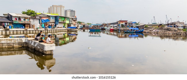 Jakarta, Indonesia - October, 28, 2017 Fishing in the old harbor Sunda Kelapa of Jakarta (Batavia), Java Island, Indonesia