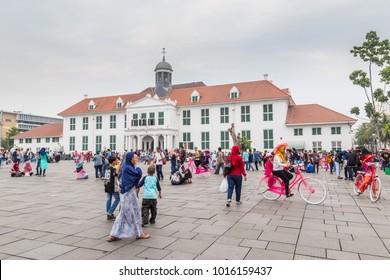 Jakarta, Indonesia - October, 28, 2017 Recreation on Fatahillah Square, Kota Tua. old city of Batavia, Jakarta, Java Island Indonesia